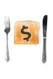 Fatia do pão com sinal de dólar imagem de stock