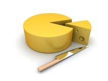 Fatia do queijo e uma faca Imagens de Stock Royalty Free
