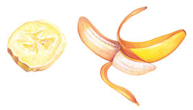 Fatia e banana Imagens de Stock Royalty Free