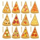 Fatias ajustadas do vetor de pizza italiana Fotografia de Stock Royalty Free