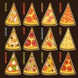 Fatias ajustadas do vetor de pizza italiana Imagem de Stock Royalty Free