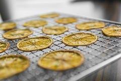 Fatias alaranjadas cristalizadas na grade para secar Frutos secados que podem ser usados como uma decoração à refeição ou aos coc imagem de stock royalty free