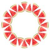 Fatias da melancia em um círculo, isolado Fotos de Stock