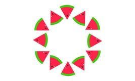 Fatias da melancia em um fundo simples do teste padrão do círculo ilustração do vetor