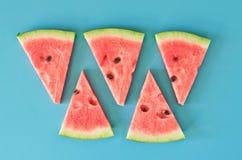 Fatias da melancia no fundo azul fotos de stock royalty free