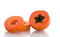 Fatias da papaia Fotografia de Stock Royalty Free