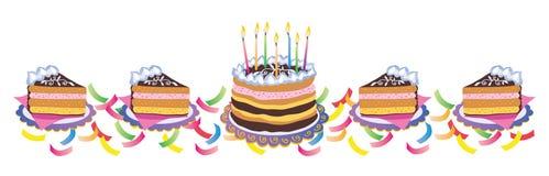 Fatias da torta dos aniversários Fotos de Stock