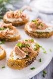 Fatias de baguette com atum fresco Imagem de Stock Royalty Free