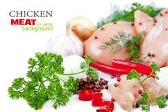 Fatias de carne da galinha no fundo branco Imagem de Stock Royalty Free
