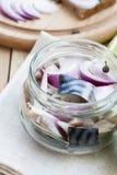 Fatias de cavala posta de conserva com cebola em um frasco, em um cal, em um louro e em um pão Imagem de Stock