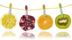 Fatias de citrinas que penduram em uma corda fotografia de stock royalty free