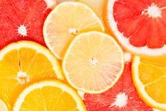 Fatias de citrino fresco, opinião superior do close up Imagens de Stock