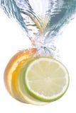 Fatias de citrinos que caem na água Foto de Stock Royalty Free