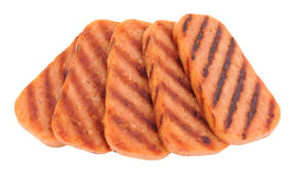 Fatias de Fried Spam Pork Luncheon Meat Fotografia de Stock
