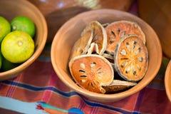 Fatias de fruta secada do bael Foto de Stock Royalty Free