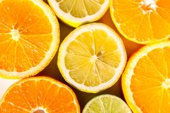Fatias de laranjas, de limões, de cais e de mandarino Fotos de Stock Royalty Free