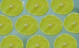 Fatias de limão maduro em um claro - fundo azul imagem de stock