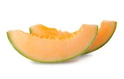 Fatias de melão maduro do cantaloupe Fotografia de Stock