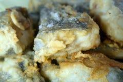 Fatias de peixes fritados na massa fotografia de stock