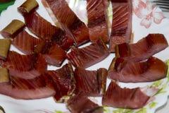 Fatias de peixes vermelhos fumado Fotografia de Stock Royalty Free