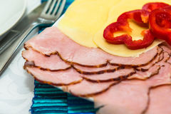 Fatias de presunto e de queijo Imagem de Stock Royalty Free