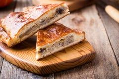 Fatias de torta da couve e do cogumelo com queijo Fotos de Stock Royalty Free