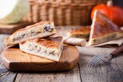 Fatias de torta da couve e do cogumelo com queijo Fotografia de Stock