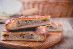 Fatias de torta da couve e do cogumelo com queijo Imagem de Stock