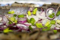 Fatias de um arenque salgado com cebolas Foto de Stock