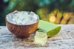 Fatias de uma folha de vera do aloés e de uma garrafa com o gel transparente para Fotografia de Stock Royalty Free