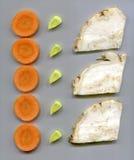 Fatias de vegetais de raiz Foto de Stock Royalty Free