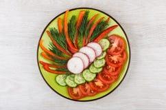 Fatias de vegetais e de aneto variados na placa verde Imagens de Stock Royalty Free