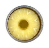 Fatias do abacaxi na lata imagem de stock