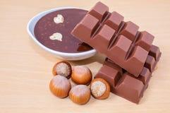 Fatias do chocolate e chocolate derretido quente Chocolate com avelã Porcas das avelã imagem de stock