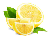 Fatias do limão com as folhas isoladas no fundo branco Imagem de Stock
