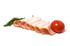 Fatias do tomate e da carne isoladas no branco Foto de Stock Royalty Free