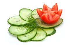 Fatias do tomate e do pepino Imagens de Stock Royalty Free