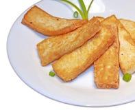 Fatias fritadas do tofu fotos de stock
