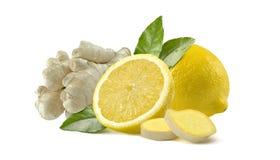 Fatias inteiras do limão e do gengibre no fundo branco Fotografia de Stock Royalty Free