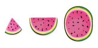 Fatias isoladas da melancia Corte dos frutos frescos no melão parcialmente cor-de-rosa em seguido isolado no fundo branco com tra Foto de Stock