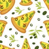 Fatias italianas da pizza, refeição tradicional de Itália com queijo ilustração royalty free