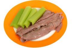 Fatias Roasted frio da carne com salada do aipo Imagem de Stock Royalty Free
