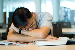 Fatigue. Teenager boy fatigued by his research in a library Royalty Free Stock Photo