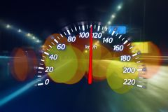 Fatigue of the driver on the night highway. Conceptual speedometer Stock Image