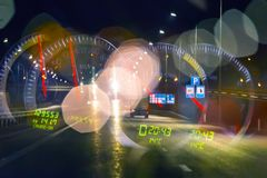 Fatigue of the driver on the night highway. Conceptual speedometer Royalty Free Stock Photography
