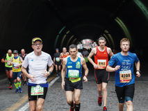 The fatigue of the marathon athlete Royalty Free Stock Images