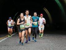 The fatigue of the marathon athlete Stock Photo