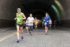 The fatigue of the marathon athlete Royalty Free Stock Photo