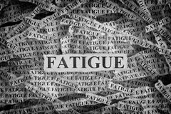 Torn pieces of paper with the word Fatigue royalty free stock images
