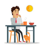 Fatigue After Work Day Flat Style Illustration Stock Photography